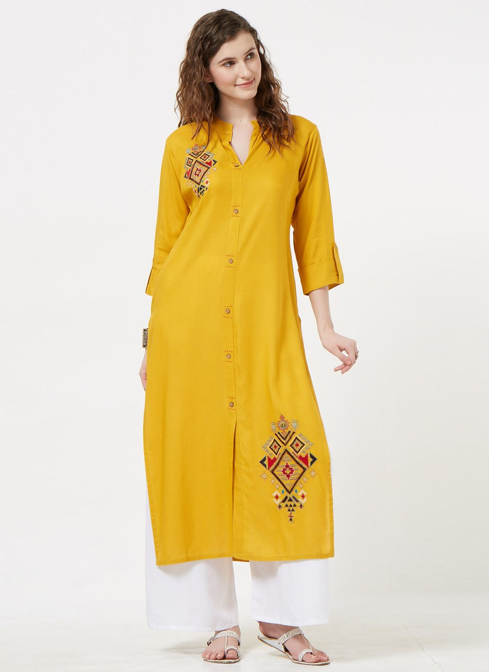 Rayon Mustard Party Wear Kurti