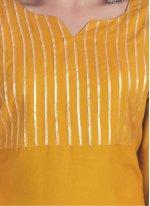 Rayon Mustard Print Party Wear Kurti