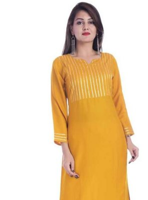 Rayon Mustard Print Party Wear Kurti