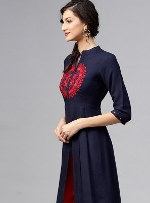 Rayon Navy Blue Embroidered Party Wear Kurti