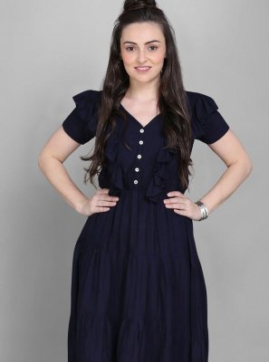 Rayon Navy Blue Plain Party Wear Kurti