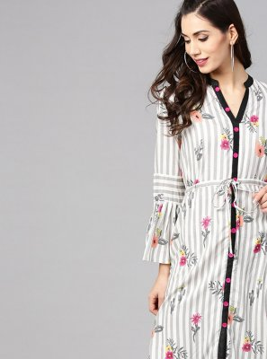 Rayon Off White Print Casual Kurti