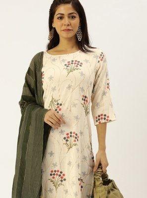 Rayon Off White Readymade Salwar Suit
