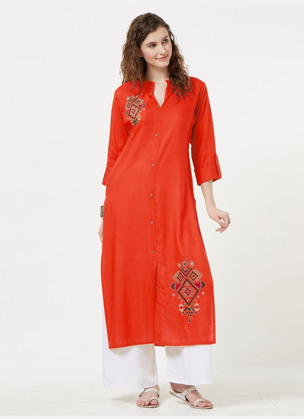Rayon Orange Embroidered Casual Kurti