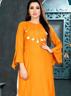 Rayon Orange Plain Casual Kurti