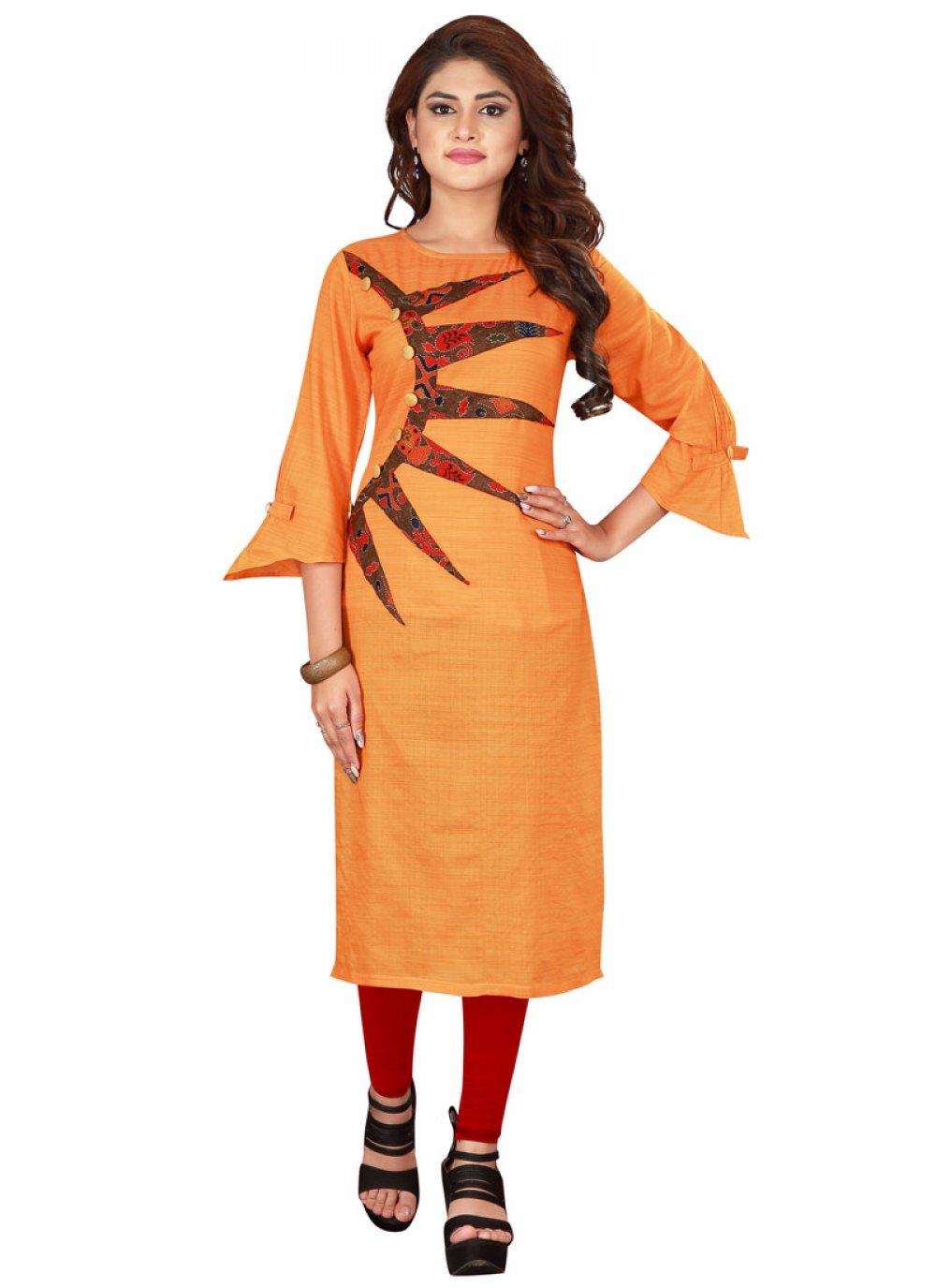 Rayon Orange Printed Designer Kurti