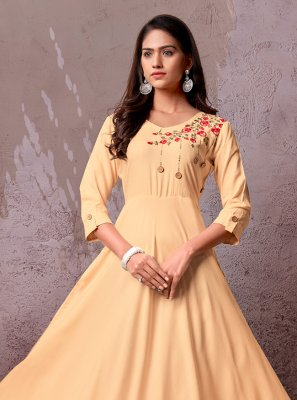 Rayon Party Wear Kurti in Beige