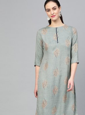 Rayon Party Wear Kurti in Grey