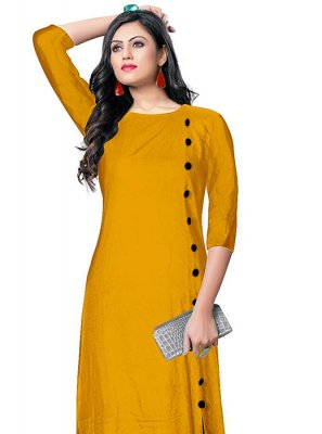 Rayon Party Wear Kurti in Mustard