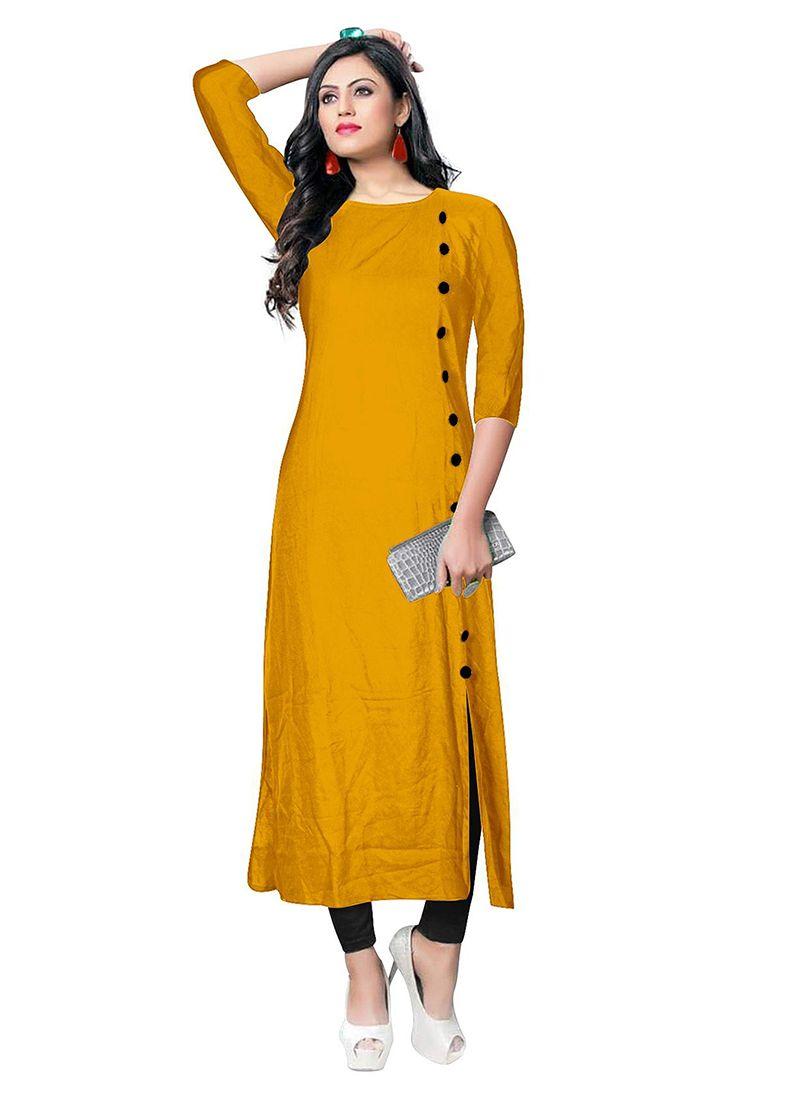Rayon Party Wear Kurti in Mustard