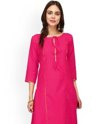 Rayon Pink Casual Kurti