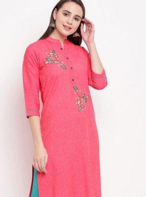 Rayon Pink Designer Kurti