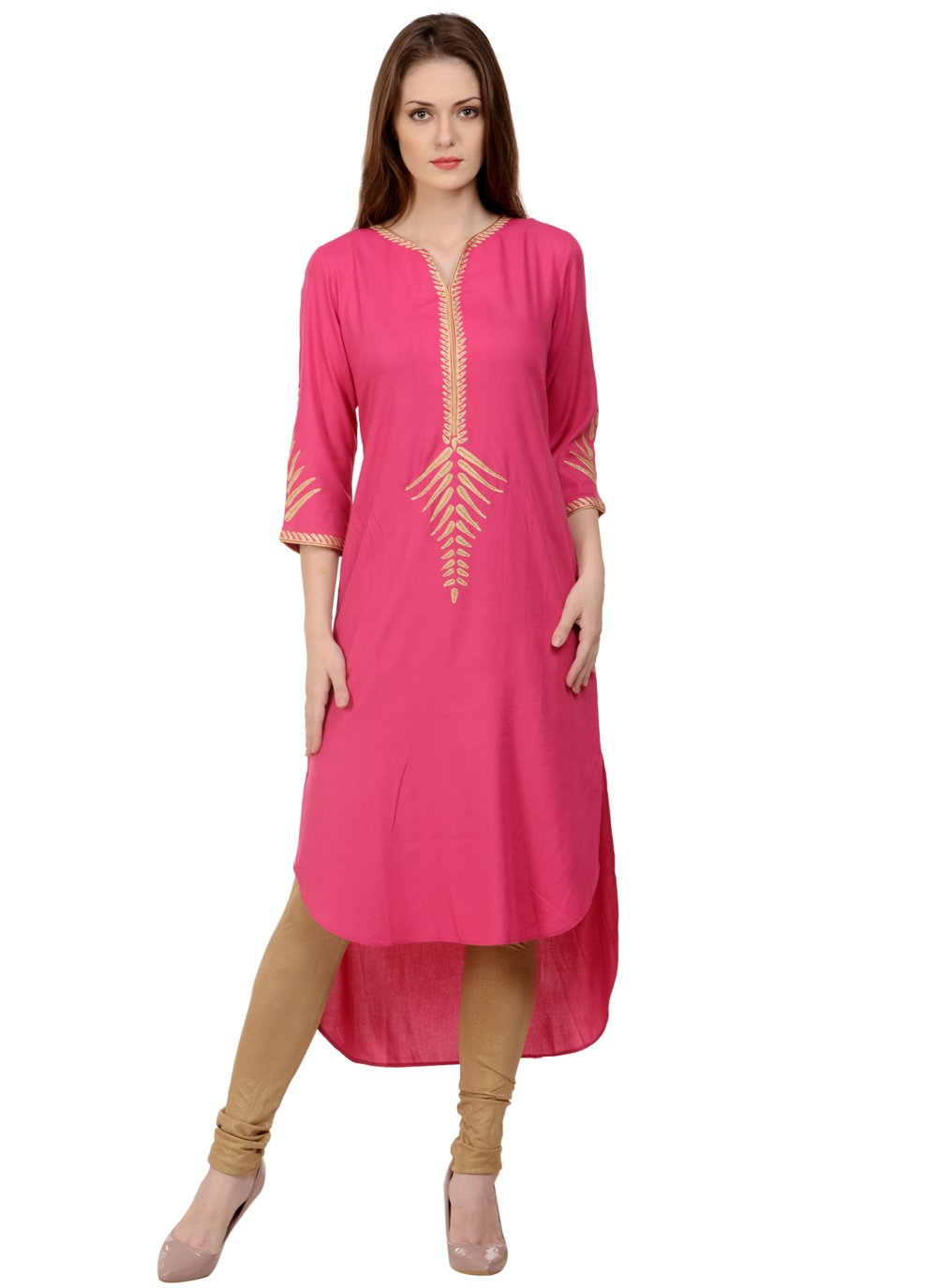 Rayon Pink Embroidered Casual Kurti