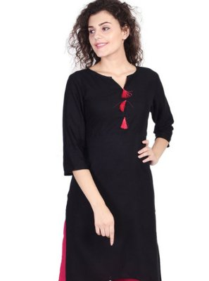 Rayon Plain Black Casual Kurti