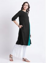 Rayon Plain Black Designer Kurti