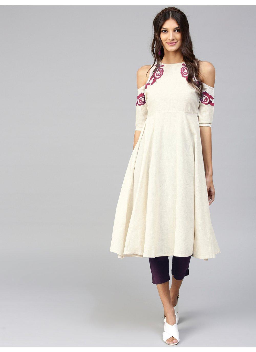 Rayon Plain Cream Salwar Suit