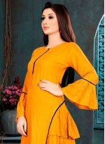 Rayon Plain Orange Casual Kurti
