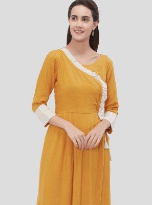 Rayon Plain Party Wear Kurti in Mustard
