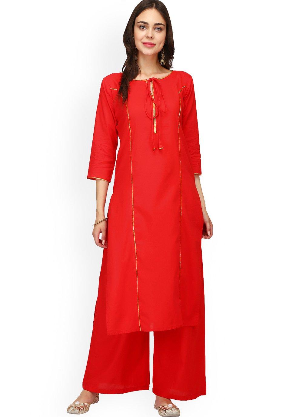 Rayon Plain Red Designer Kurti