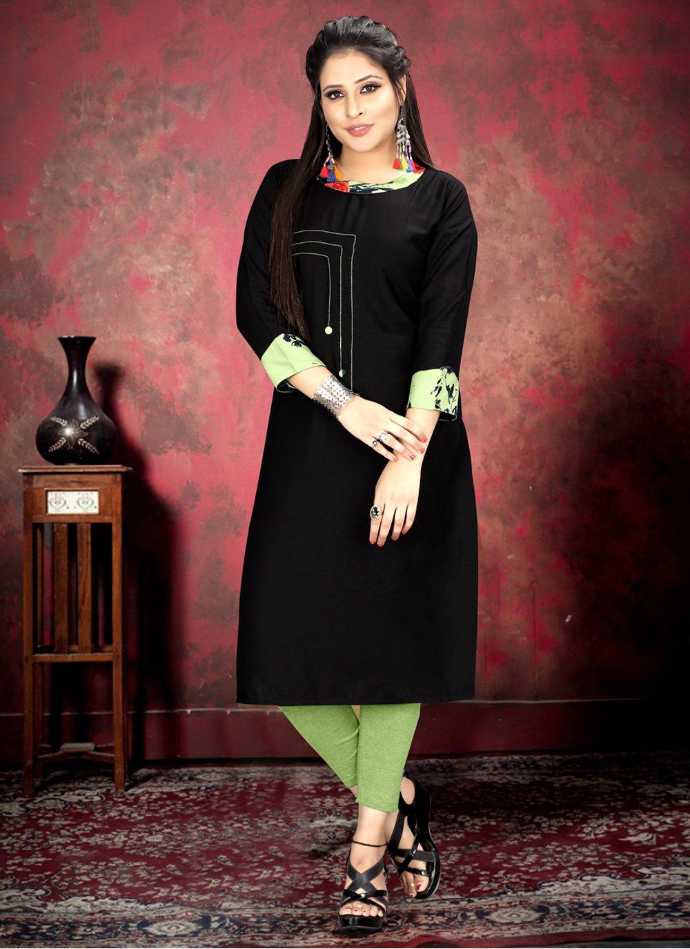 Rayon Print Black Party Wear Kurti