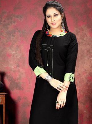 Rayon Print Black Party Wear Kurti