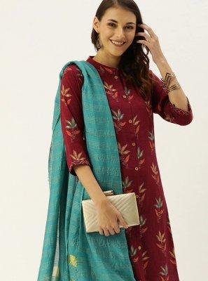 Rayon Print Maroon Readymade Salwar Suit