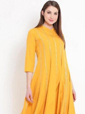 Rayon Print Yellow Designer Kurti