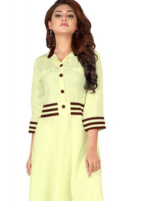 Rayon Printed Cream Casual Kurti