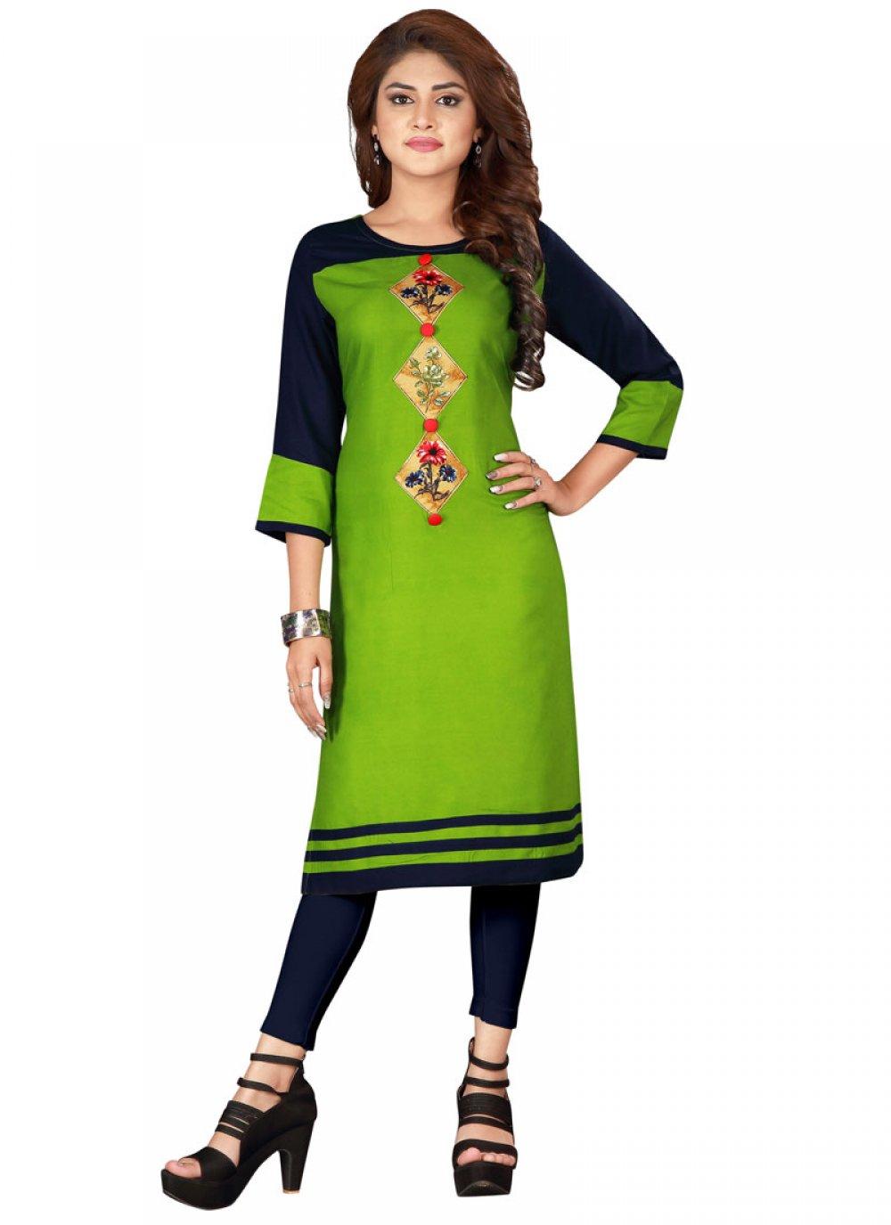 Rayon Printed Green Designer Kurti