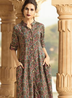 Rayon Printed Multi Colour Designer Kurti