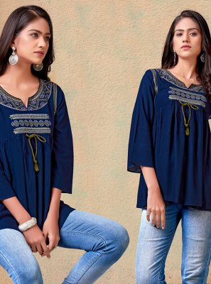 Rayon Printed Navy Blue Casual Kurti