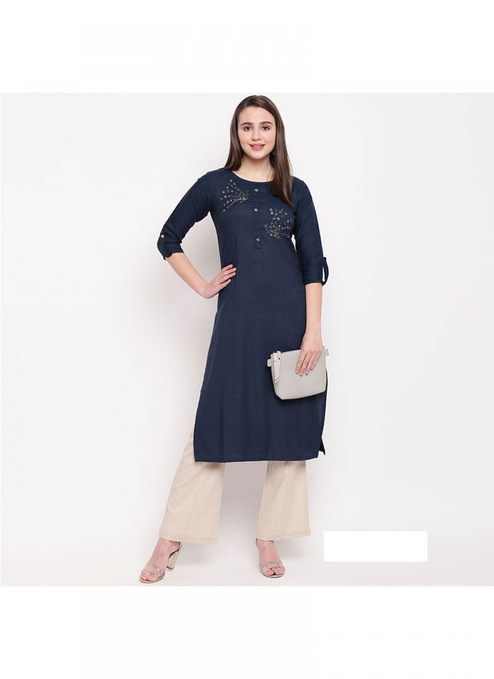 Rayon Printed Party Wear Kurti in Navy Blue