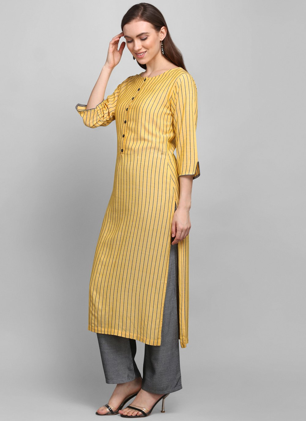 Rayon Printed Party Wear Kurti in Yellow
