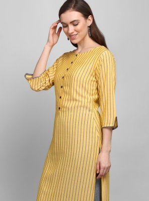 Rayon Printed Party Wear Kurti in Yellow