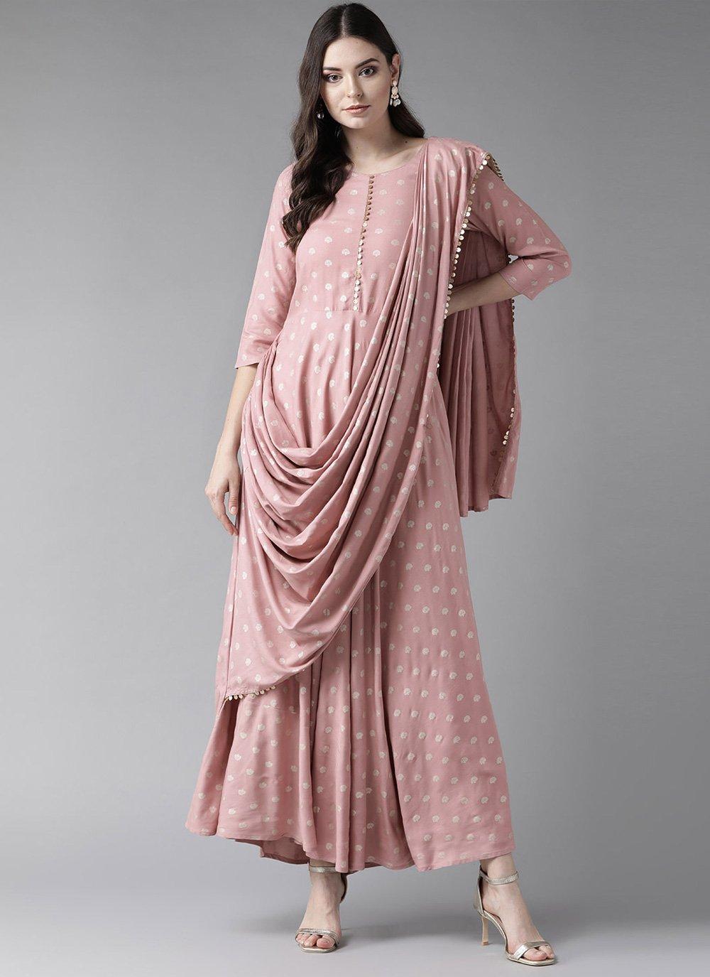 Rayon Printed Pink Casual Kurti