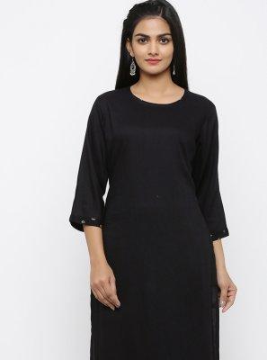 Rayon Printed Salwar Suit in Black