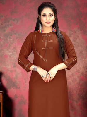 Rayon Red Print Party Wear Kurti
