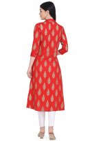 Rayon Red Printed Party Wear Kurti