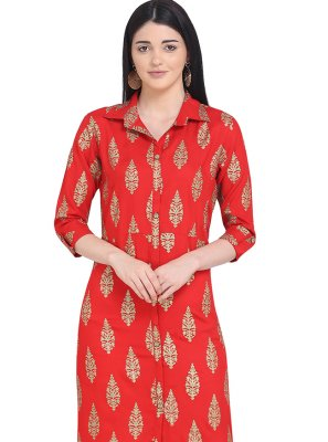 Rayon Red Printed Party Wear Kurti