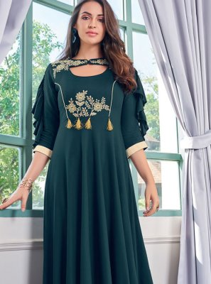 Rayon Teal Embroidered Party Wear Kurti