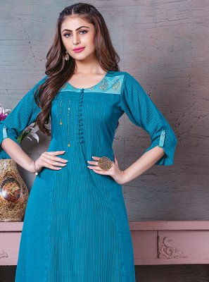 Rayon Thread Work Blue Designer Kurti