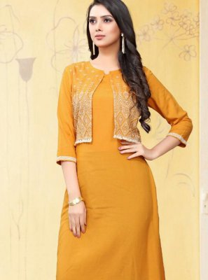 Rayon Thread Yellow Designer Kurti