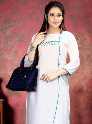 Rayon White Party Wear Kurti