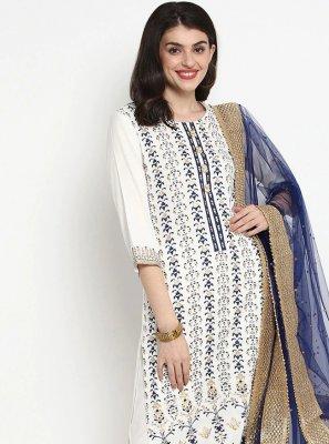 Rayon White Print Trendy Straight Salwar Kameez