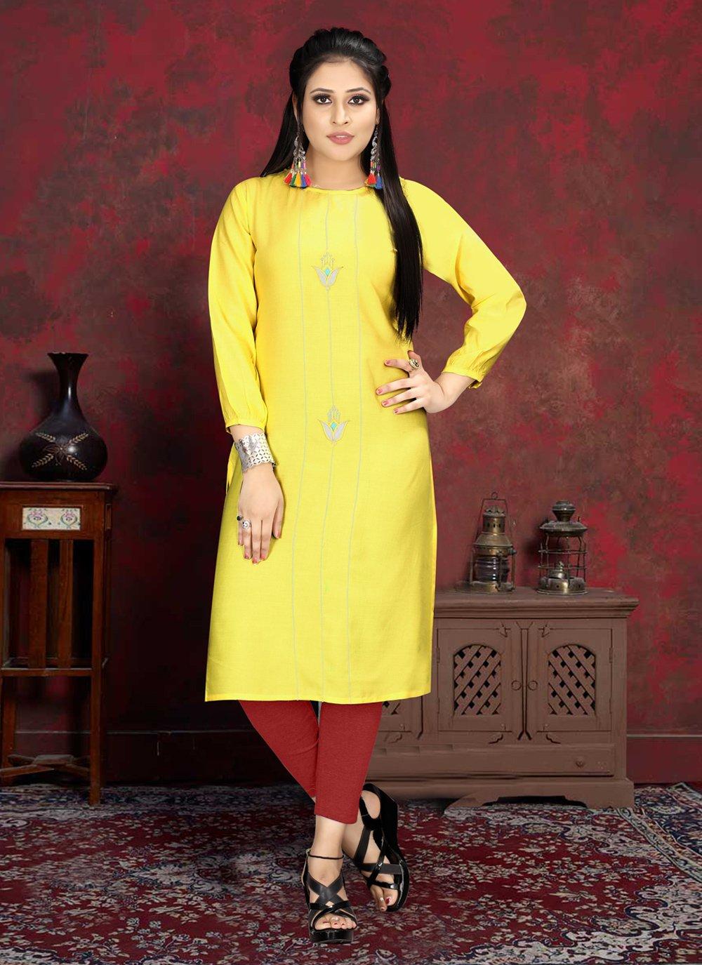 Rayon Yellow Casual Kurti