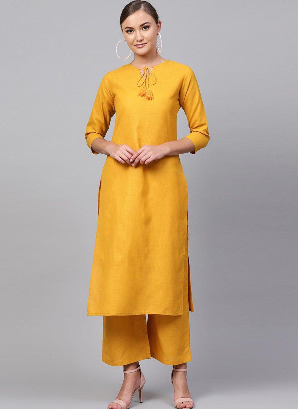 Rayon Yellow Plain Casual Kurti