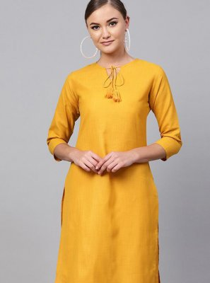 Rayon Yellow Plain Casual Kurti