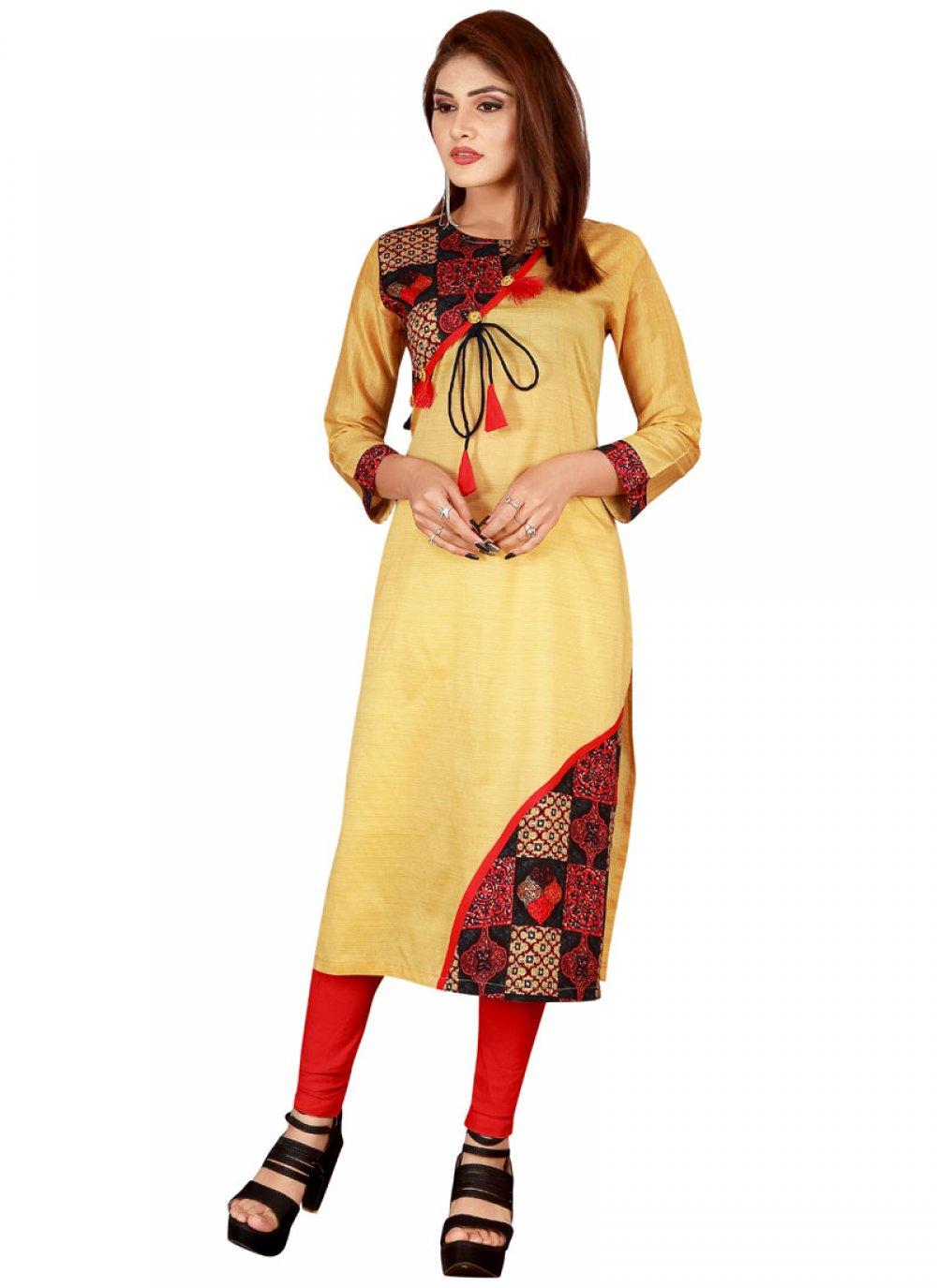 Rayon Yellow Printed Casual Kurti