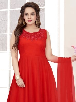 Readymade Anarkali Suit Embroidered Net in Red
