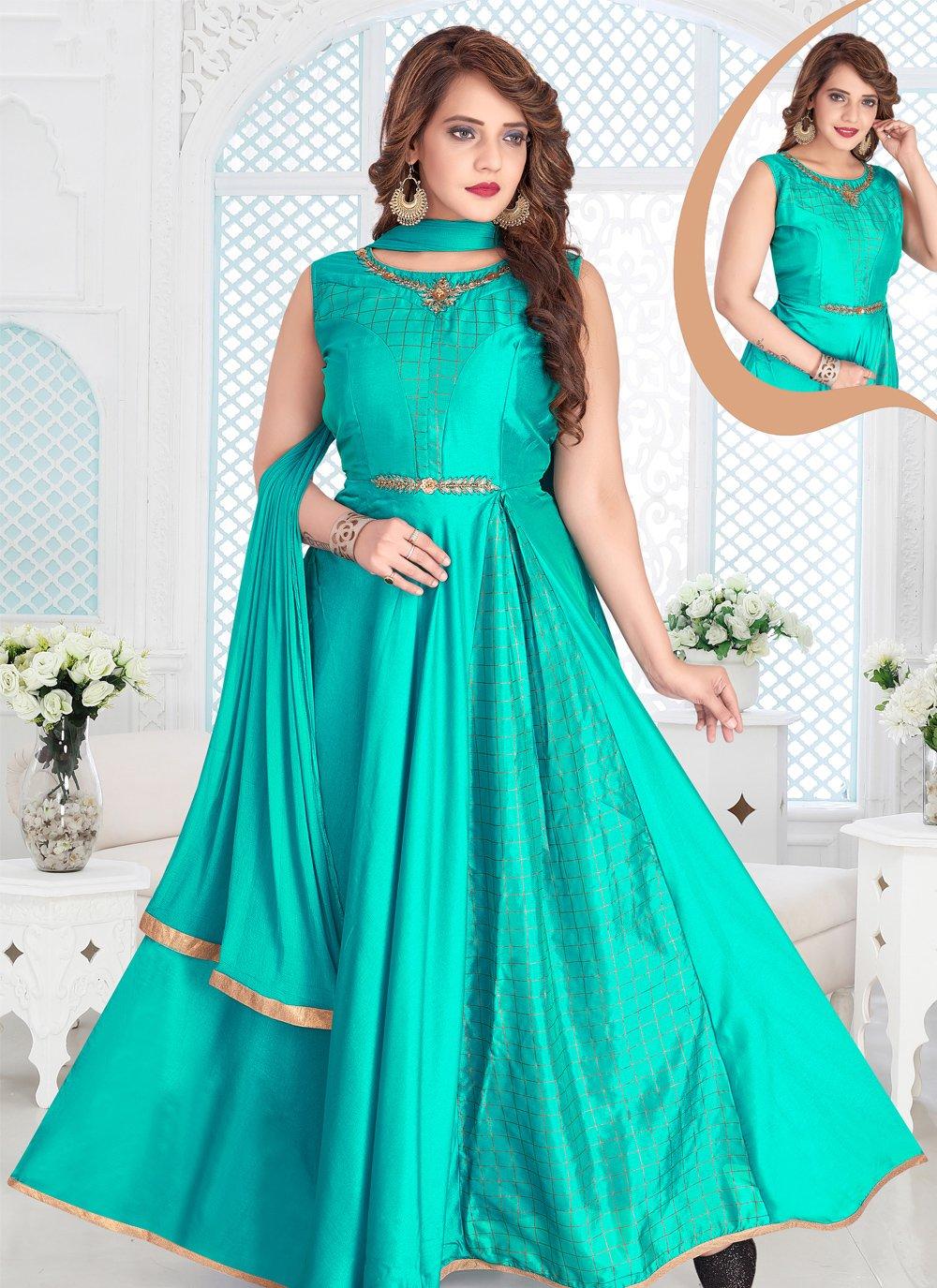 Readymade Anarkali Suit Zari Chanderi in Turquoise